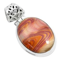 13.15cts natural heckonite rainbow 925 sterling silver pendant jewelry p49371
