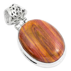 14.68cts natural heckonite rainbow 925 sterling silver pendant jewelry p49373