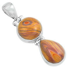 12.36cts natural heckonite rainbow 925 sterling silver pendant jewelry p67644