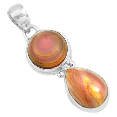 12.36cts natural heckonite rainbow 925 sterling silver pendant jewelry p67653