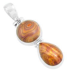 12.83cts natural heckonite rainbow 925 sterling silver pendant jewelry p67657