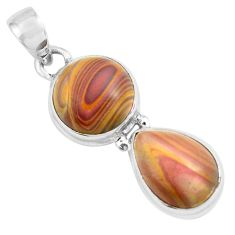 12.83cts natural heckonite rainbow 925 sterling silver pendant jewelry p67658