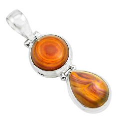 11.89cts natural heckonite rainbow 925 sterling silver pendant jewelry p67754