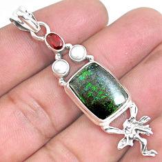 12.06cts natural honduran matrix opal silver angel wings fairy pendant p46750