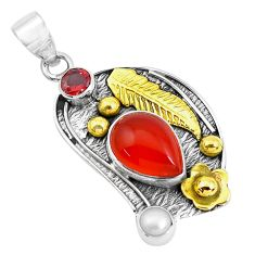 Clearance Sale- 7.13cts natural honey onyx ruby 925 sterling silver 14k gold pendant d31165