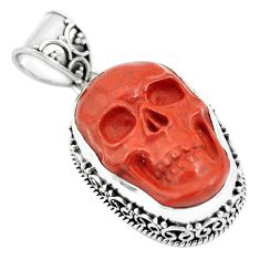 17.05cts natural jasper red 925 sterling silver skull pendant carving p77306