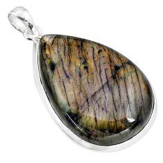 37.76cts natural labradorite spectrolite ( finland) 925 silver pendant p80027