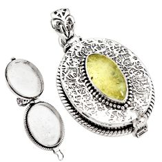 5.84cts natural libyan desert glass oval 925 silver poison box pendant p79896