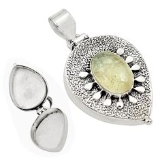 4.93cts natural libyan desert glass oval 925 silver poison box pendant p79989