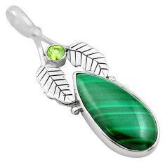 13.77cts natural malachite (pilot's stone) silver deltoid leaf pendant p84770