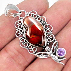 13.07cts natural mexican fire agate 925 silver angel wings fairy pendant p53946