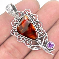 11.66cts natural mexican fire agate 925 silver angel wings fairy pendant p53951