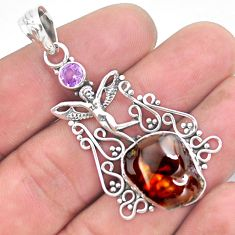 10.64cts natural mexican fire agate 925 silver angel wings fairy pendant p53953