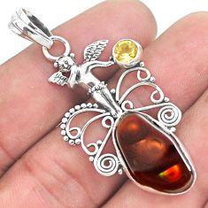 10.81cts natural mexican fire agate 925 silver angel wings fairy pendant p53963