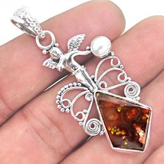 12.07cts natural mexican fire agate 925 silver cupid angel wings pendant p53994