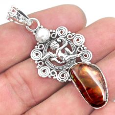 13.28cts natural mexican fire agate 925 silver cupid angel wings pendant p53995