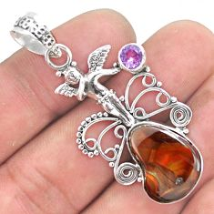 11.27cts natural mexican fire agate 925 silver cupid angel wings pendant p54017