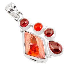 12.83cts natural mexican fire opal cornelian (carnelian) silver pendant p40489
