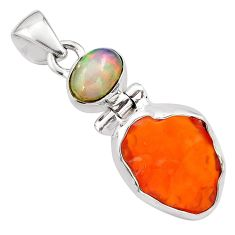 9.72cts natural mexican fire opal ethiopian opal 925 silver pendant p84322
