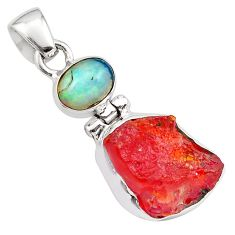 10.62cts natural mexican fire opal ethiopian opal 925 silver pendant p84327