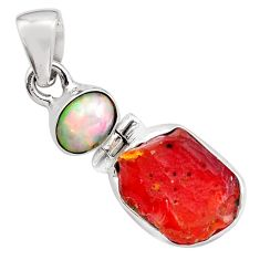 9.72cts natural mexican fire opal ethiopian opal 925 silver pendant p84332