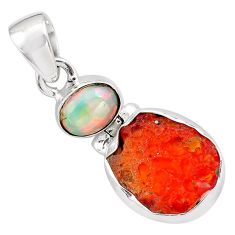 11.73cts natural mexican fire opal ethiopian opal 925 silver pendant p84340