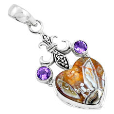 15.33cts natural mexican laguna lace agate 925 silver heart pendant p55071