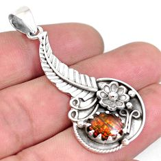 3.89cts natural multi color ammolite (canadian) 925 silver flower pendant p42148