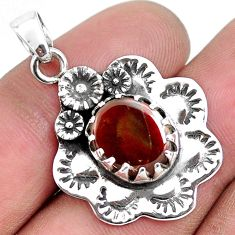 5.13cts natural multi color ammolite (canadian) 925 silver flower pendant p42152