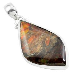 17.22cts natural multi color ammolite (canadian) 925 silver pendant d31935