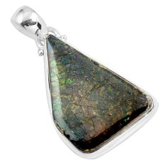 22.87cts natural multi color ammolite (canadian) 925 silver pendant d31938