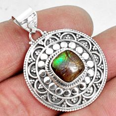 5.53cts natural multi color ammolite (canadian) 925 silver pendant p33422