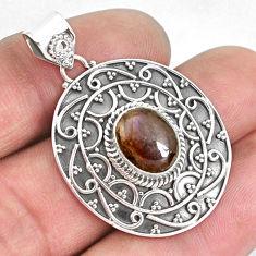 4.38cts natural multi color ammolite (canadian) 925 silver pendant p33423