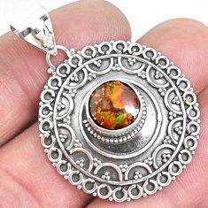 5.01cts natural multi color ammolite (canadian) 925 silver pendant p33432