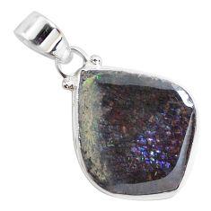 13.67cts natural multi color ammolite (canadian) 925 silver pendant p47009