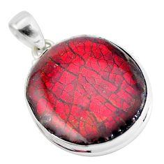 16.20cts natural multi color ammolite (canadian) 925 silver pendant p47021