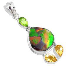 15.85cts natural multi color ammolite (canadian) 925 silver pendant p47746