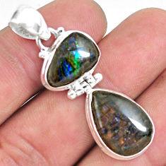 13.77cts natural multi color ammolite (canadian) 925 silver pendant p59407