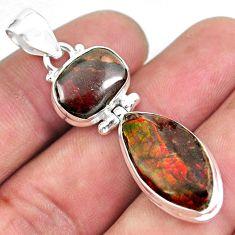15.39cts natural multi color ammolite (canadian) 925 silver pendant p59415
