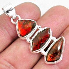13.71cts natural multi color ammolite (canadian) 925 silver pendant p59418
