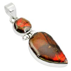 14.23cts natural multi color ammolite (canadian) 925 silver pendant p65723