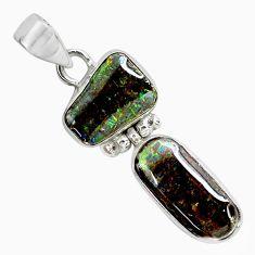 10.05cts natural multi color ammolite (canadian) 925 silver pendant p65741