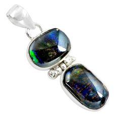 11.17cts natural multi color ammolite (canadian) 925 silver pendant p65760