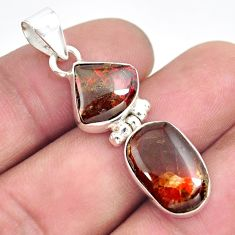 9.37cts natural multi color ammolite (canadian) 925 silver pendant p70503