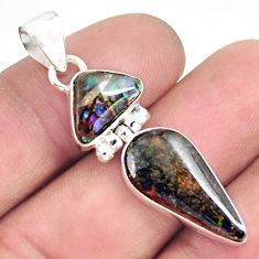 10.28cts natural multi color ammolite (canadian) 925 silver pendant p70509