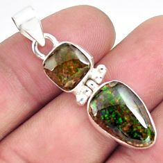 8.56cts natural multi color ammolite (canadian) 925 silver pendant p70522