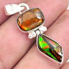 8.56cts natural multi color ammolite (canadian) 925 silver pendant p70526