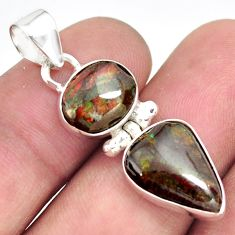 8.56cts natural multi color ammolite (canadian) 925 silver pendant p70537