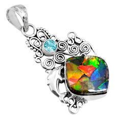 13.71cts natural multi color ammolite (canadian) silver dolphin pendant p47808