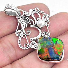 16.52cts natural multi color ammolite 925 silver elephant pendant p47769